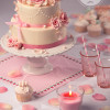 Pink ribbon rose cake