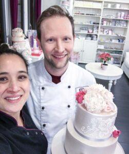 Privatkurs Hochzeitstorte Januar 2018 mit professionellem Patissier