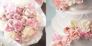 Torte mit Frischblumen