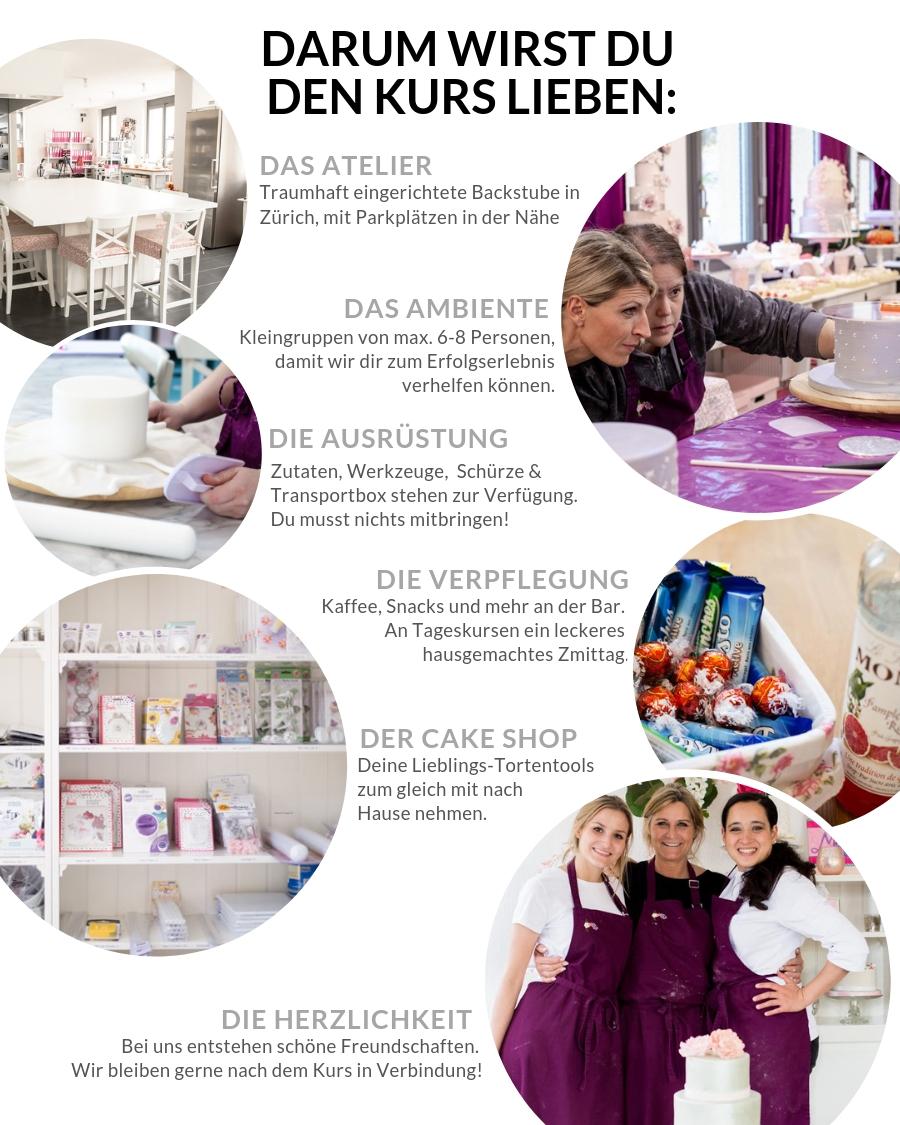 Darum werden Sie den Kurs lieben: Die Location, das Ambiente, die Ausrüstung, die Verpflegung, Der Cake Shop und die Herzlichkeit.