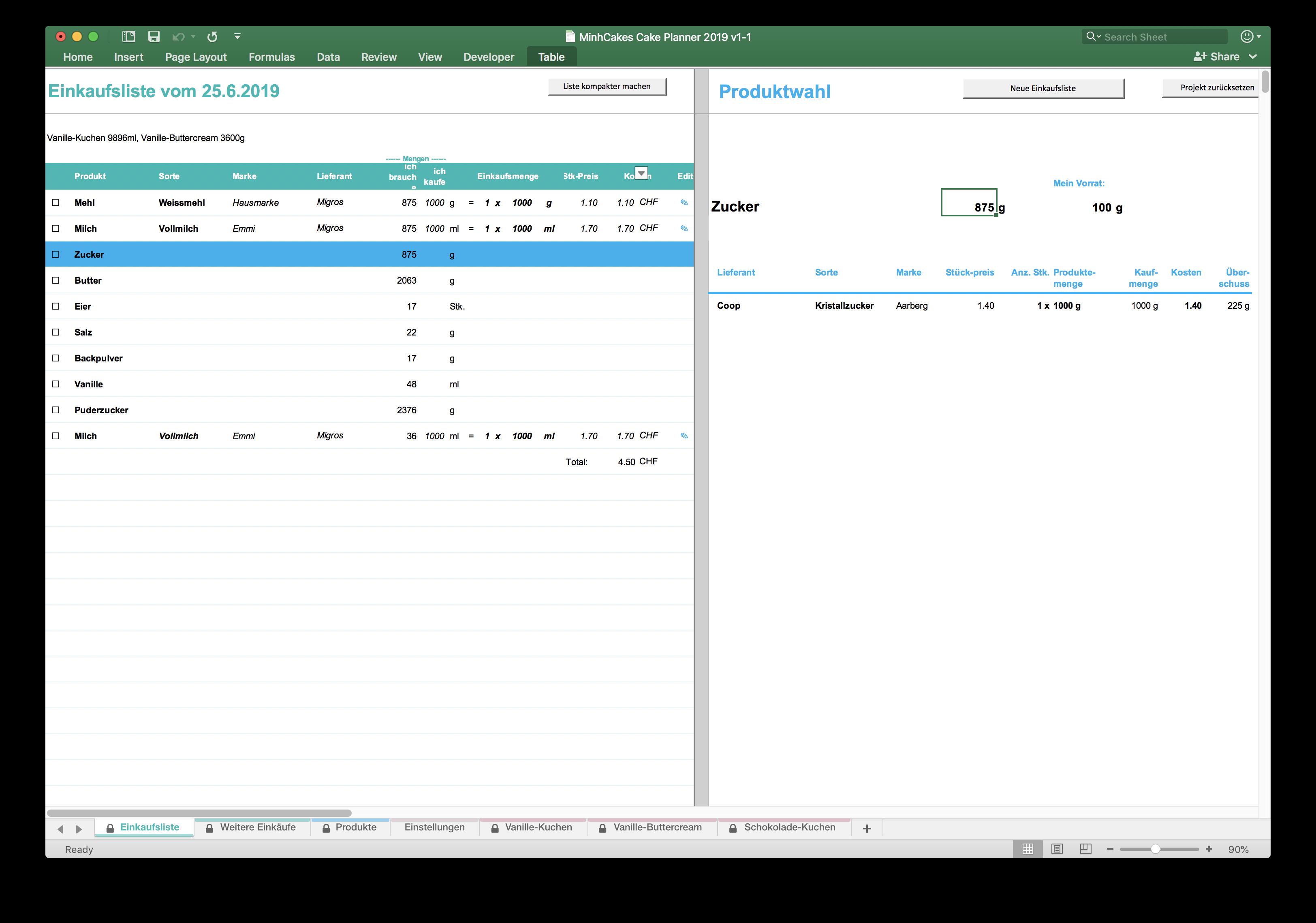 Die Einkaufsliste - Excel Cake Planner