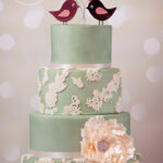 Minh Cakes Green Lovebird Applique Lace Cake