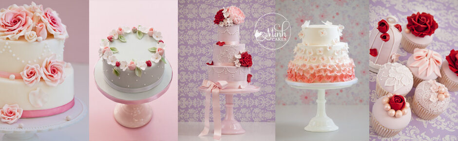 Wedding cake Closeup pink white roses EN