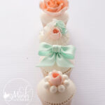 vintage cupcakes in a row